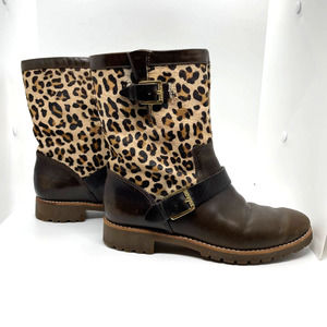 Sperry Britt Leopard Leather Mid-Calf Boot size 5